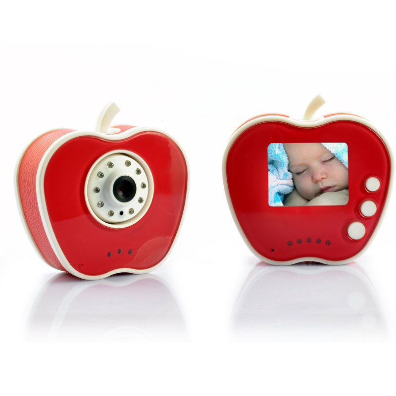 2.4GHz Wireless Digital Baby Monitor + Camera - 10 LED Lights, 5 Meter Night Vision Range, Apple Shape Design