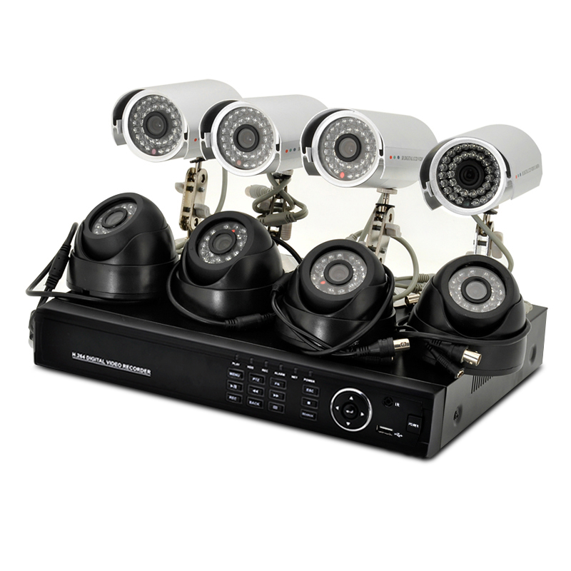 8 Channel DVR System 'Secure Vision' - 4 Indoor + 4 Outdoor Cameras, 700TVL, 1TB HDD, H.264