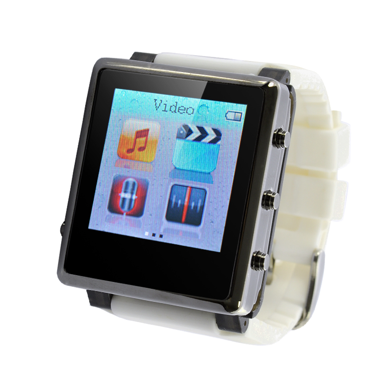 MP4 Player Watch 'iradish' - 1.5 Inch Screen, Removable Strap, eBook Reader, Micro SD Card Slot (White)