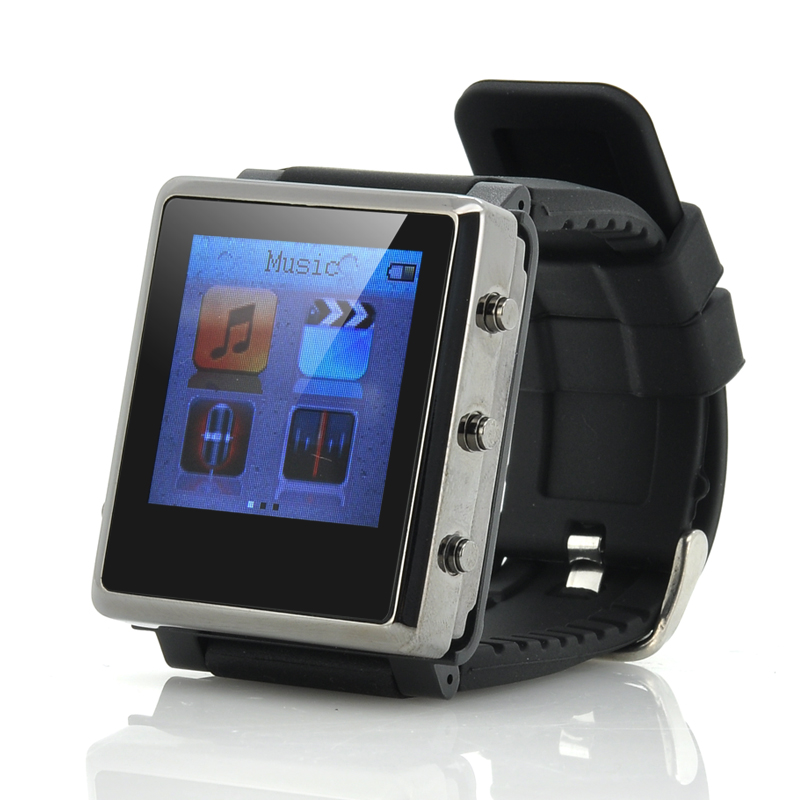 MP4 Player Watch 'iradish' - Removable Strap, 1.5 Inch Screen, eBook Reader, Micro SD Card Slot (Black)