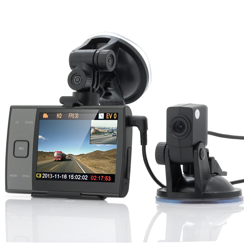 720p Car DVR With Dual Cameras 'Duo-View' - 3.5 Inch Display, Dual View, 32GB Blackbox Memory